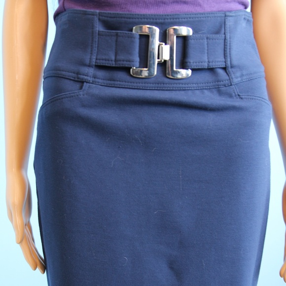 Cache Dresses & Skirts - Cache Contour Navy Blue Skirt Silver Buckle